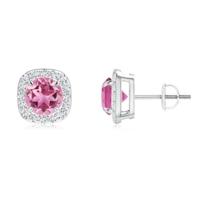Claw Set Pink Tourmaline and Diamond Cushion Halo Stud Earrings - Angara.com