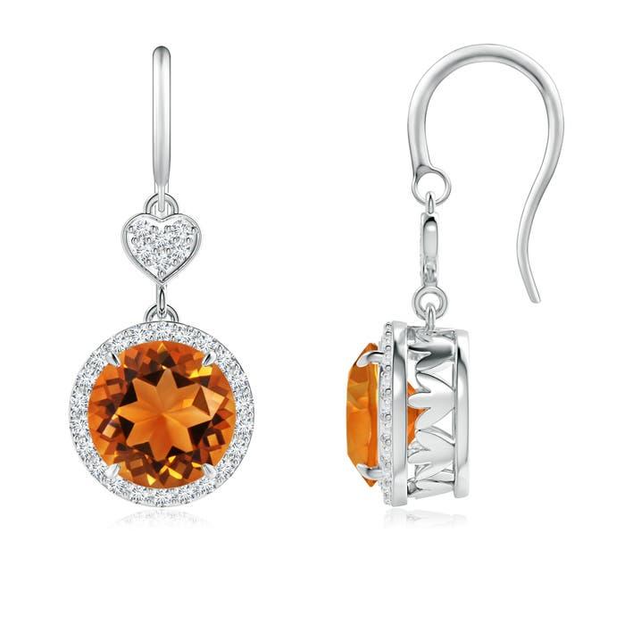 Angara Dangling Citrine and Diamond Halo Earrings in Platinum L3TBteKO