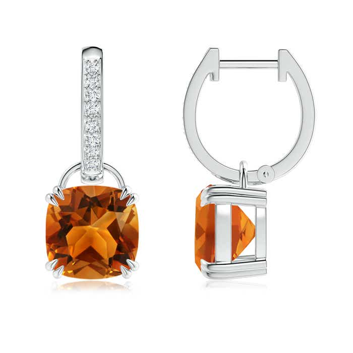 Cushion Citrine Drop Earrings with Diamond Accents - Angara.com