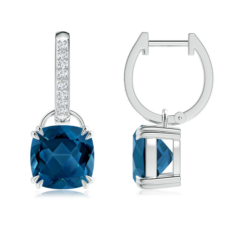 Cushion London Blue Topaz Drop Earrings with Diamond Accents - Angara.com