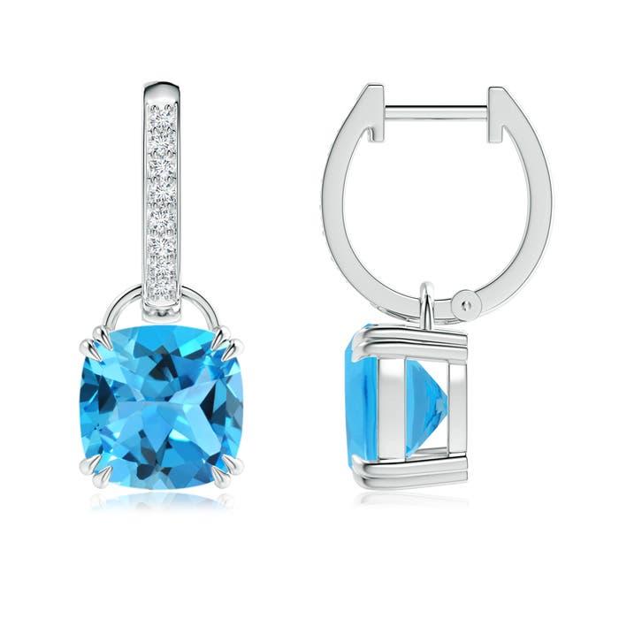 Cushion Swiss Blue Topaz Drop Earrings with Diamond Accents - Angara.com