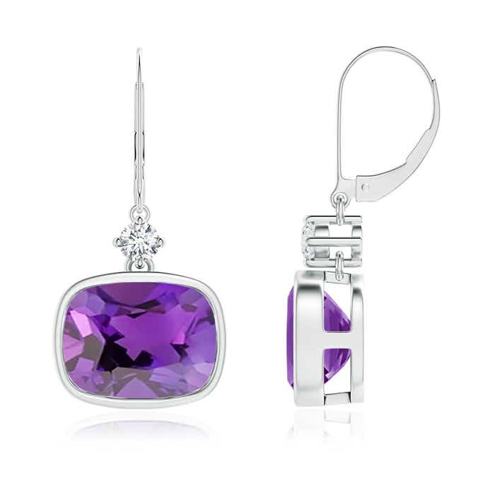 Cushion Amethyst and Diamond Leverback Dangle Earrings - Angara.com