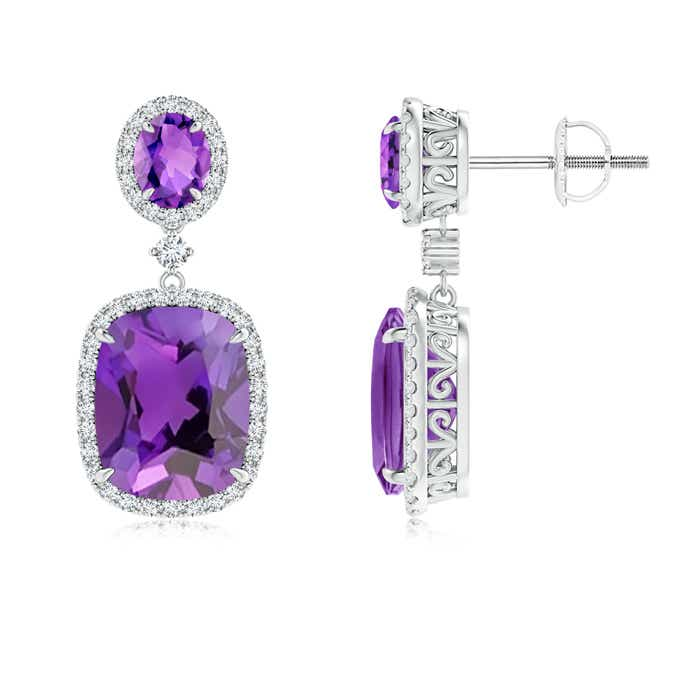 Angara Claw-Set Amethyst Dangle Earrings in White Gold spqGuchNK