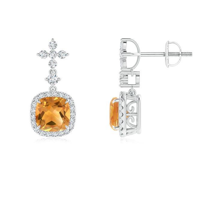 Angara Screwback Citrine Stud Earrings in White Gold VSPPbt