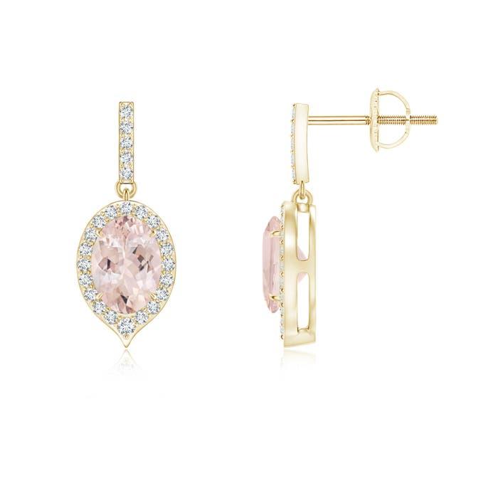 Angara Dangling Sapphire and Diamond Halo Earrings in 14K Rose Gold JReb4