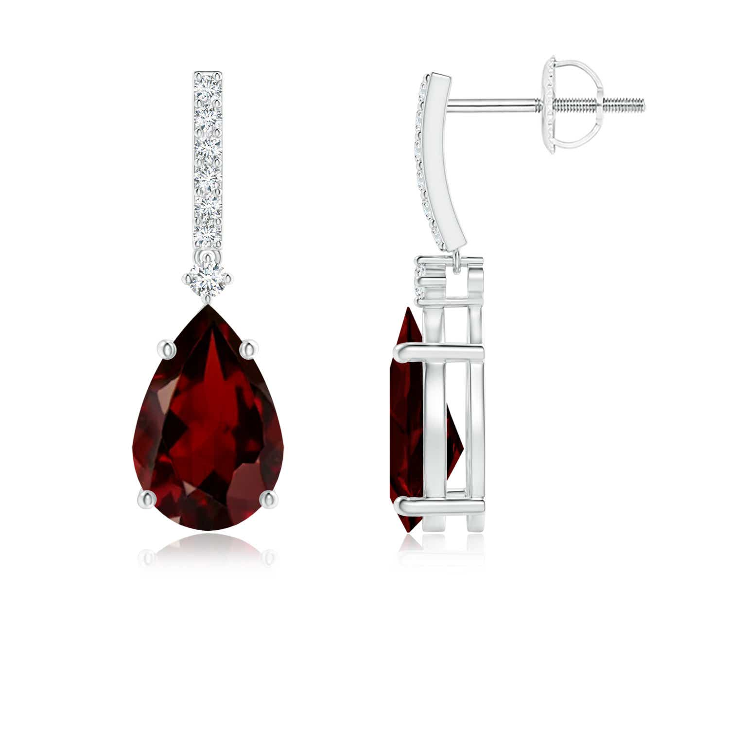 Solitaire Pear Shaped Garnet Drop Earrings with Diamonds - Angara.com