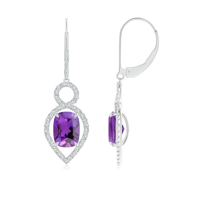 Angara Cushion Amethyst Dangling Earrings in White Gold eBlAgLu5aN