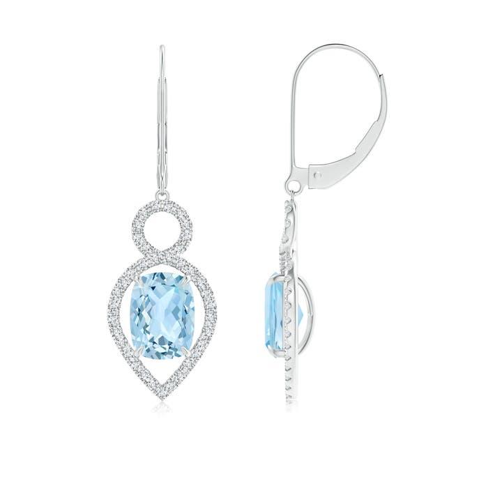 Leverback Cushion Aquamarine Infinity Drop Earrings with Diamonds - Angara.com