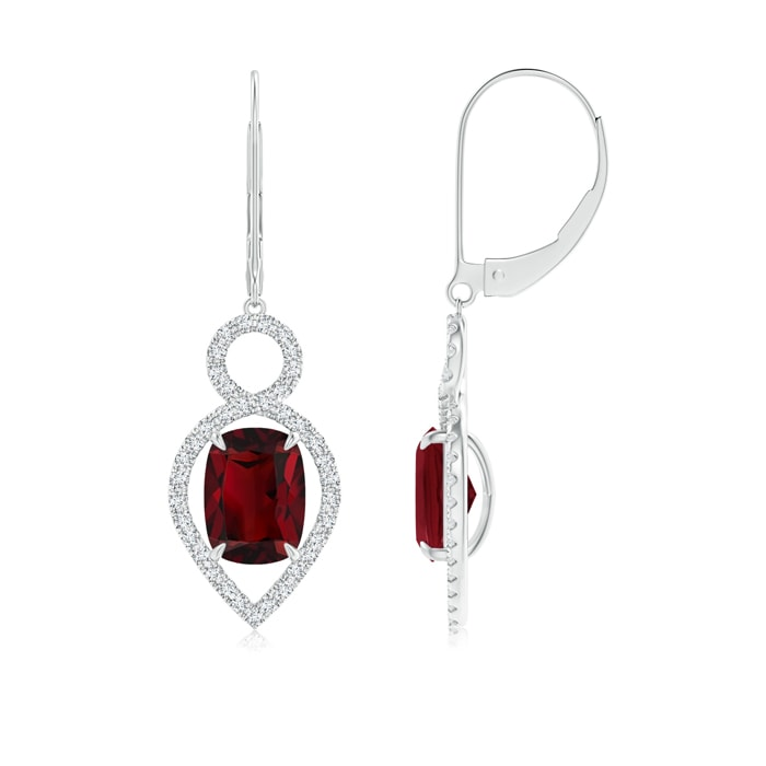 Leverback Cushion Garnet Infinity Drop Earrings with Diamonds - Angara.com