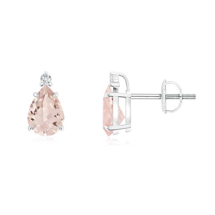 Angara Natural Morganite Stud Earrings in White Gold