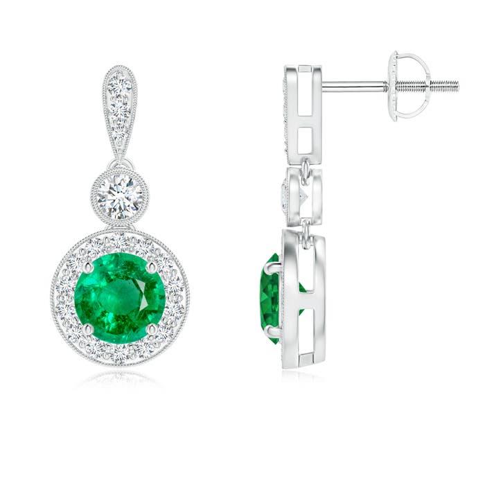 Angara Milgrain-Edged Emerald and Diamond Halo Dangle Earrings VeuVTe