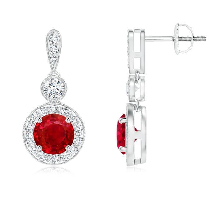 Milgrain-Edged Ruby and Diamond Halo Dangle Earrings - Angara.com
