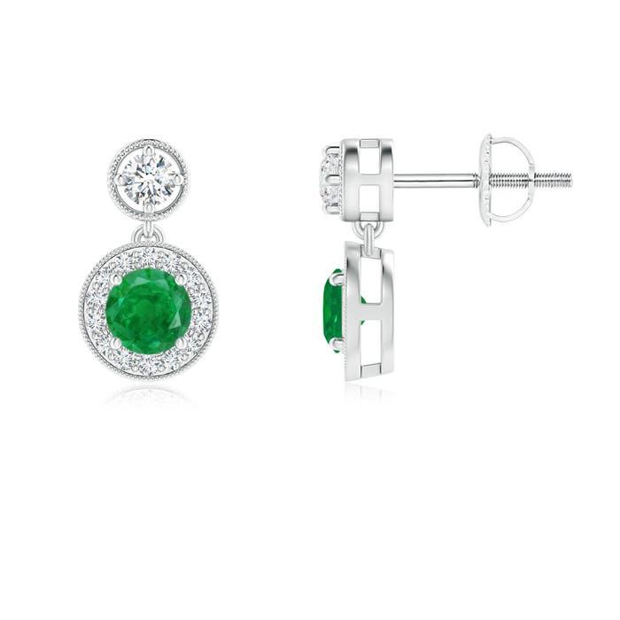 Angara Round Emerald Diamond Halo Dangle Earrings in White Gold UH0NI