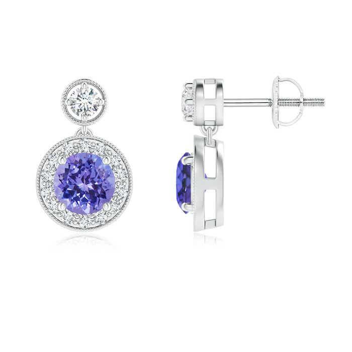 Angara Dangling Tanzanite and Diamond Halo Earrings in 14K Yellow Gold jORcp