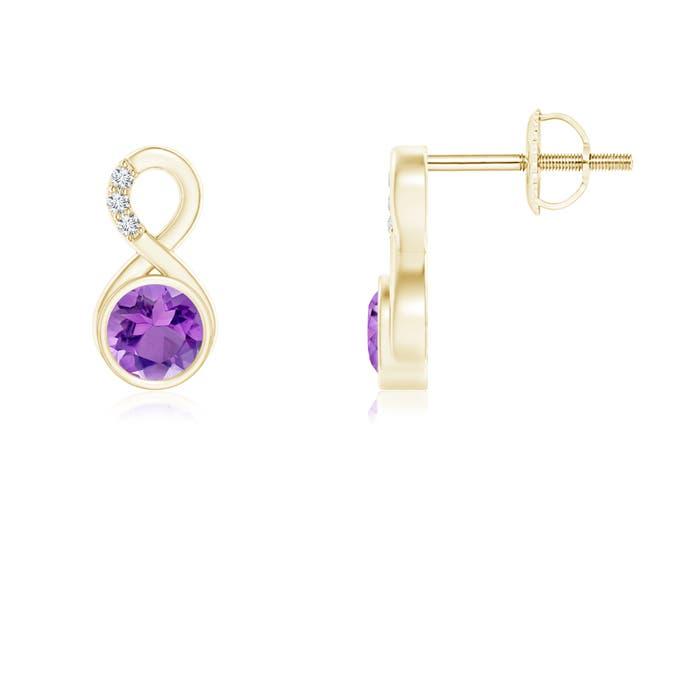 Angara Natural Amethyst Stud Earrings in Platinum QQ3EaaZyWv
