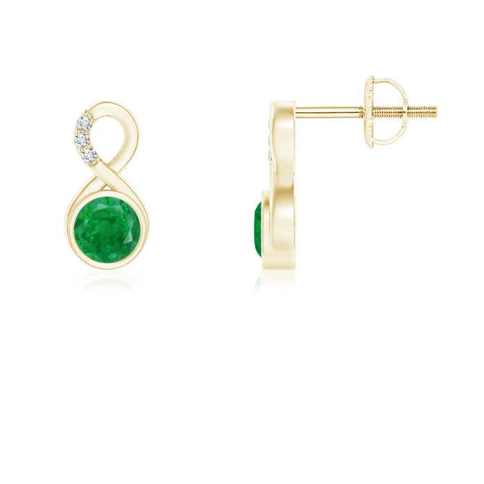 Angara White Gold Natural Emerald Stud Earrings with Diamond 7XXf1