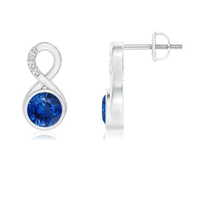 Bezel Set Sapphire Infinity Stud Earrings with Diamonds - Angara.com