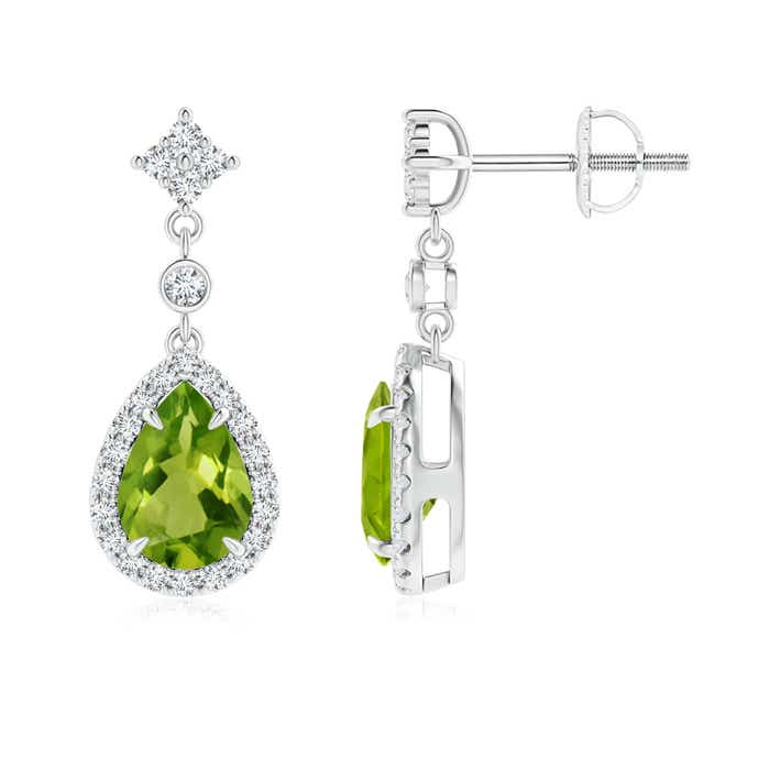 Angara Pear Emerald Drop Earrings in Platinum gnoUb8SD