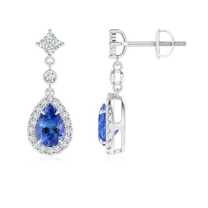Angara Dangling Tanzanite and Diamond Halo Earrings in Yellow Gold 2OtepKMT8