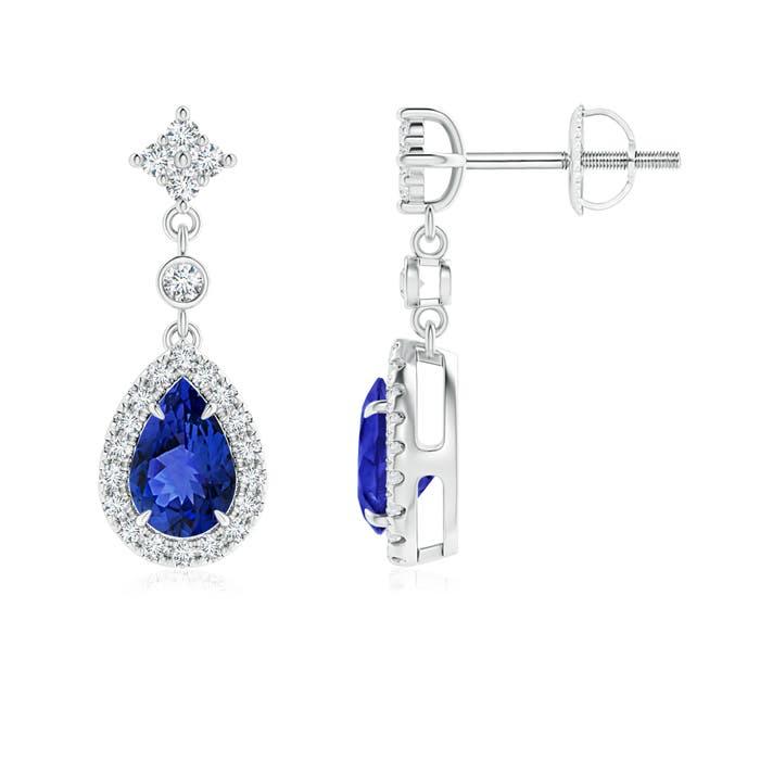 Angara Pear Tanzanite Halo Dangle Earrings with Diamond Cluster in Rose Gold RaSi0Y