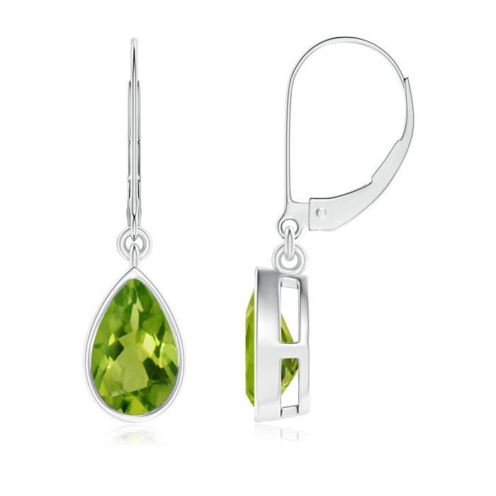 Bezel Set Pear Shaped Peridot Leverback Drop Earrings - Angara.com