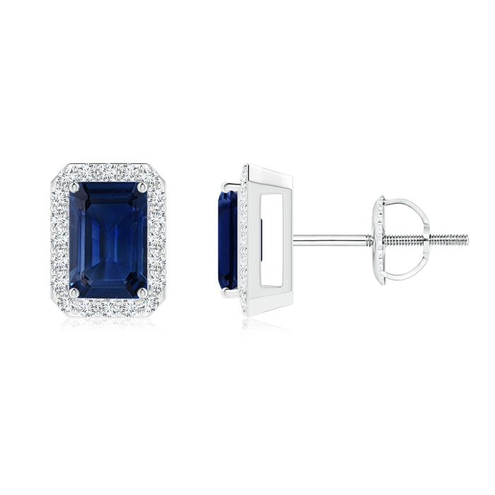Emerald Cut Sapphire Stud Earrings with Diamond Halo - Angara.com