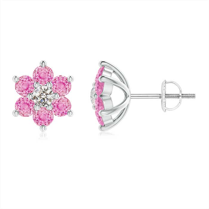 Angara Six Petal Diamond and Sapphire Flower Stud Earrings in Rose Gold