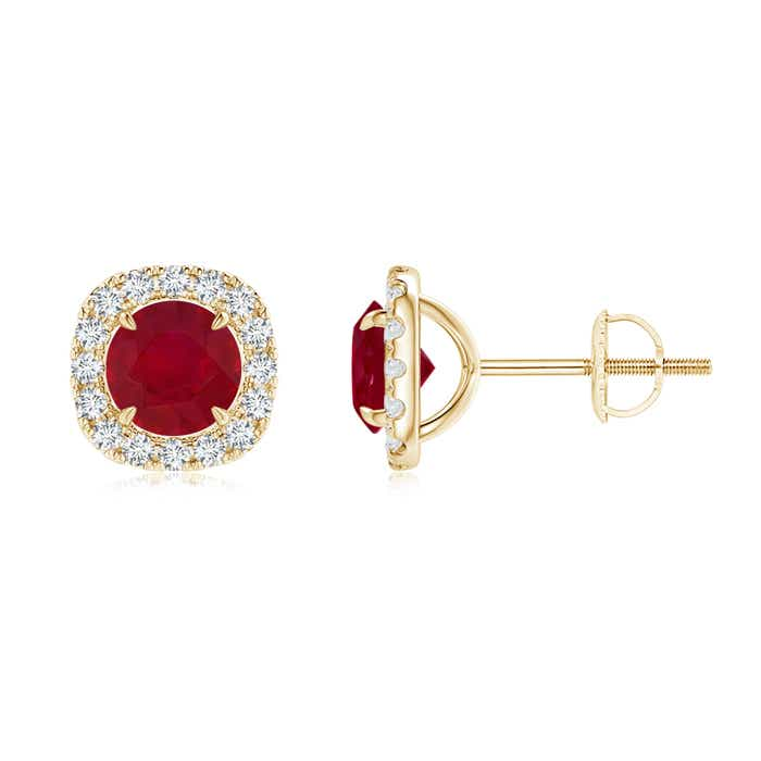 Angara Vintage and Halo Ruby Studs in 14k Yellow Gold yLRYBh