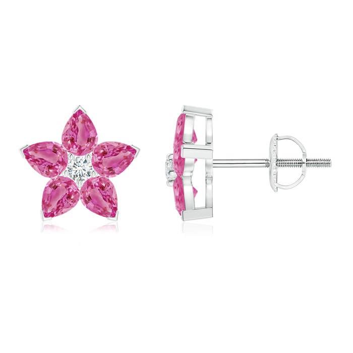V-Prong Set Diamond & Pink Sapphire Flower Stud Earrings - Angara.com