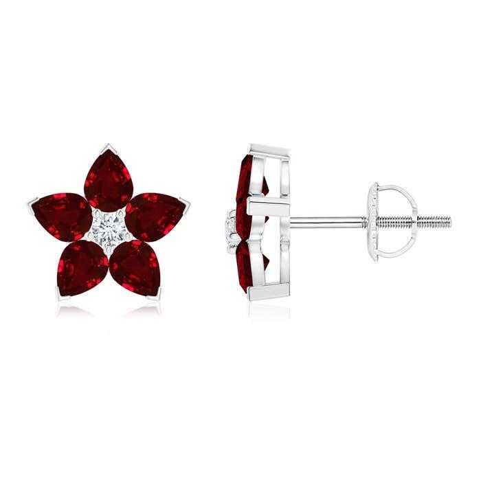 V-Prong Set Diamond and Ruby Flower Stud Earrings - Angara.com