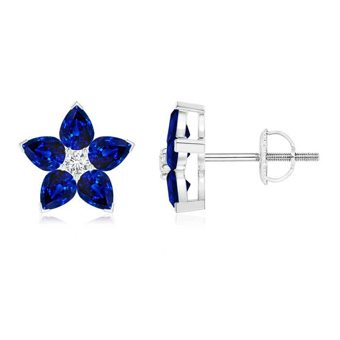 Angara Prong Set Blue Sapphire Stud Earrings in White Gold XnQ9P