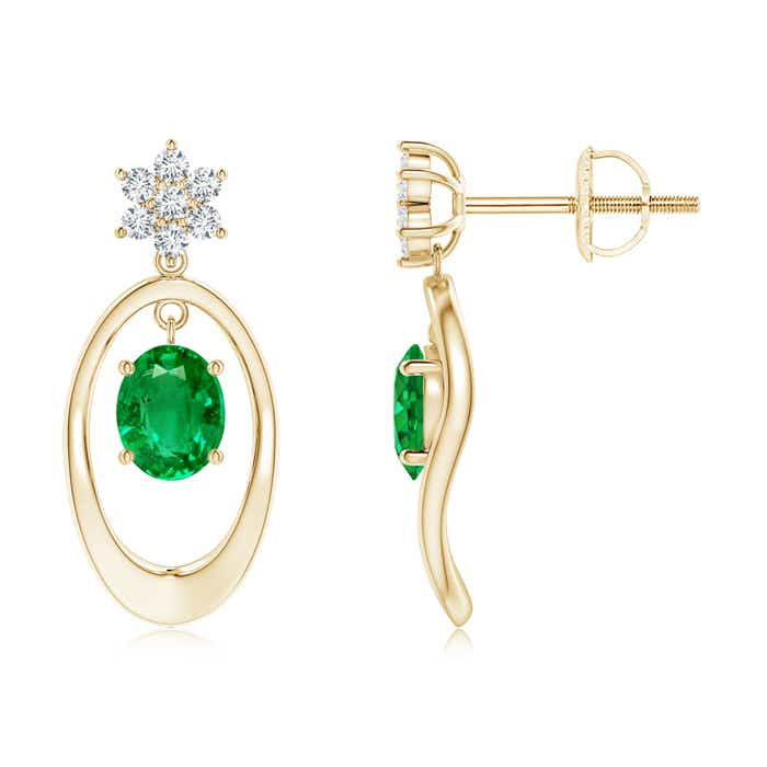 Oval Framed Emerald Solitaire Earrings with Diamond Floral Accent - Angara.com