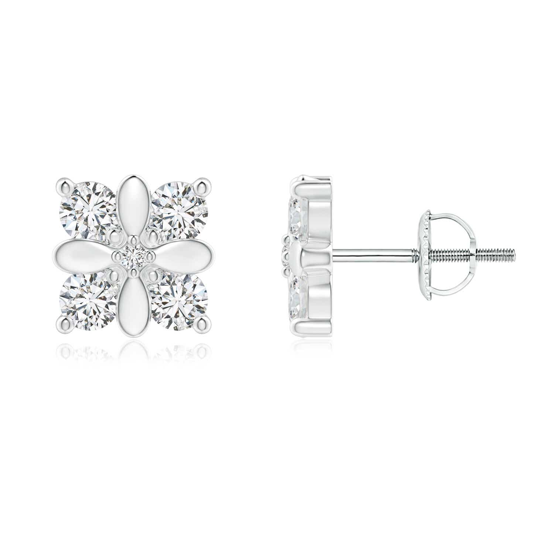 Four-Stone Studded Floral Diamond Earrings - Angara.com