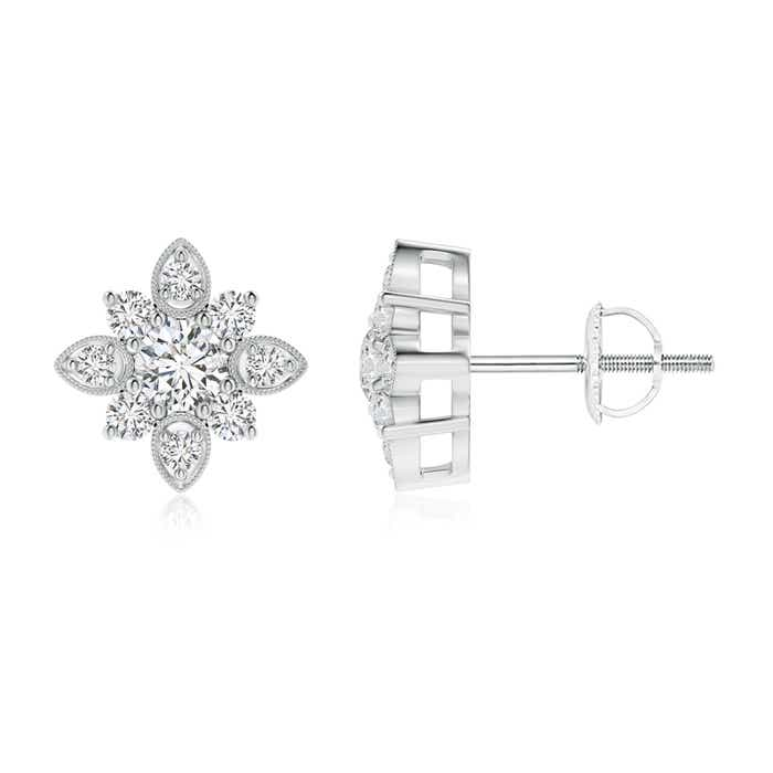 Vintage Inspired Round Diamond Flower Stud Earrings - Angara.com