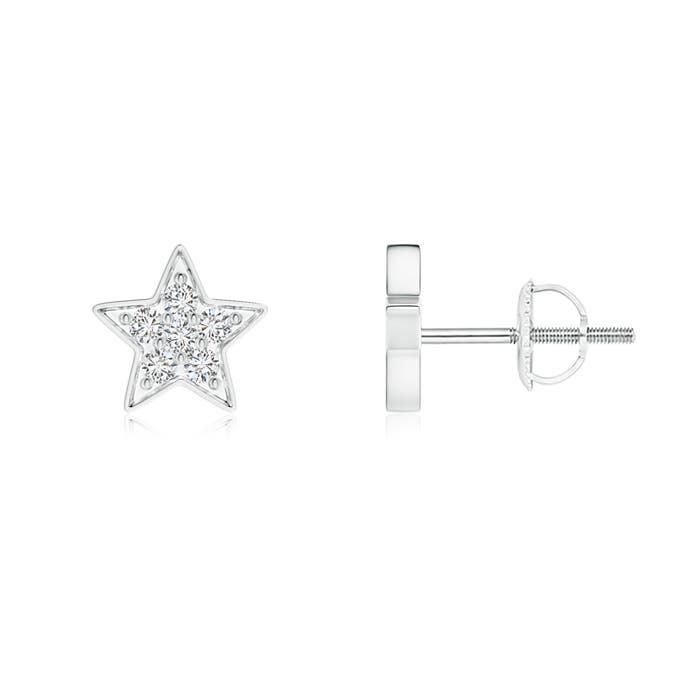 Diamond Cluster Star Stud Earrings - Angara.com