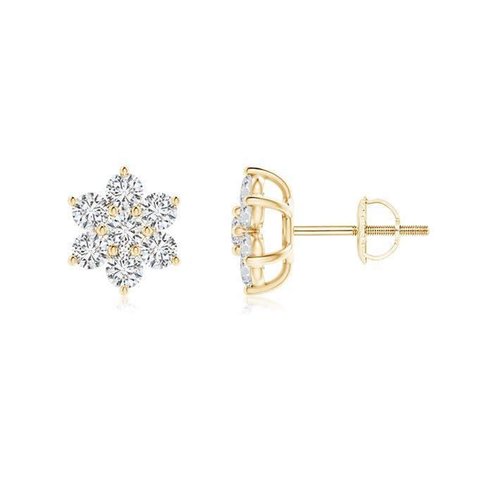 Diamond Flower Shaped Stud Earrings