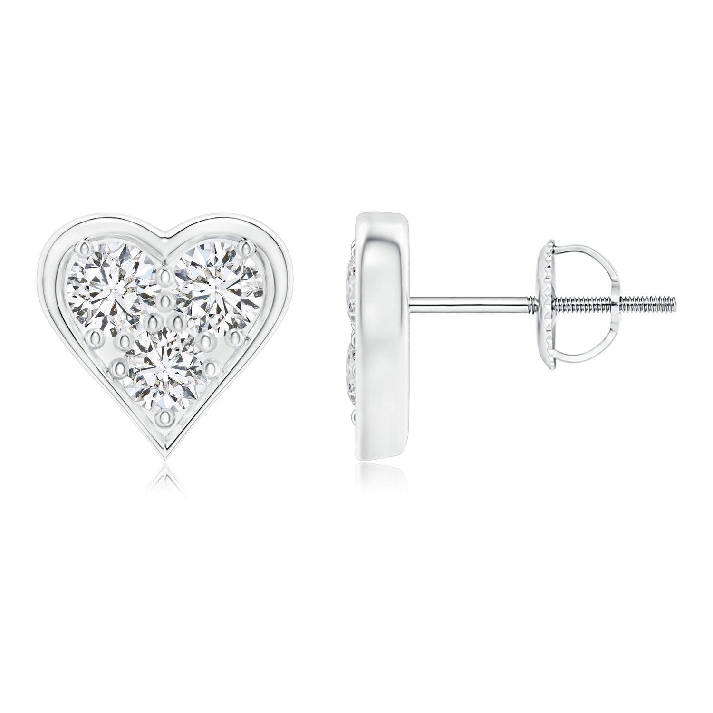 Heart Shaped Three Stone Diamond Stud Earrings - Angara.com