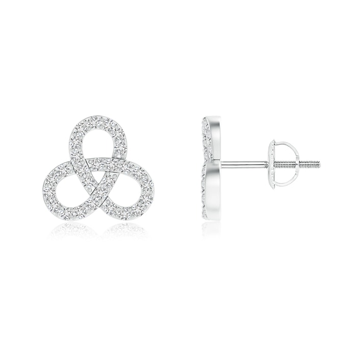 Contemporary Diamond Studded Celtic Knot Stud Earrings - Angara.com