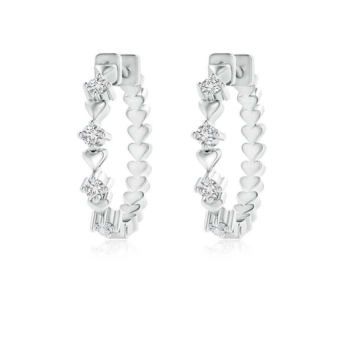 Round Diamond Hoop Earrings for Women with Heart Design - Angara.com