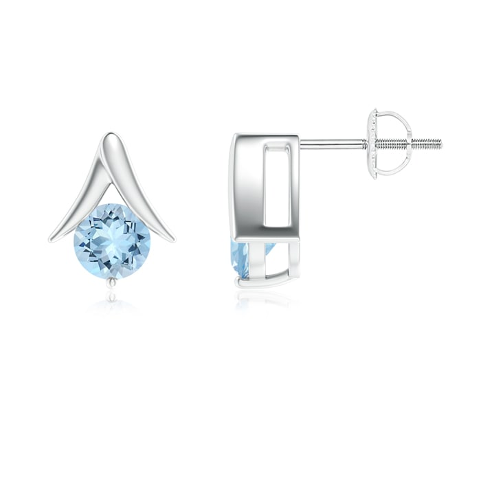 Angara Round Aquamarine Stud Earrings in White Gold LksaiYzEn