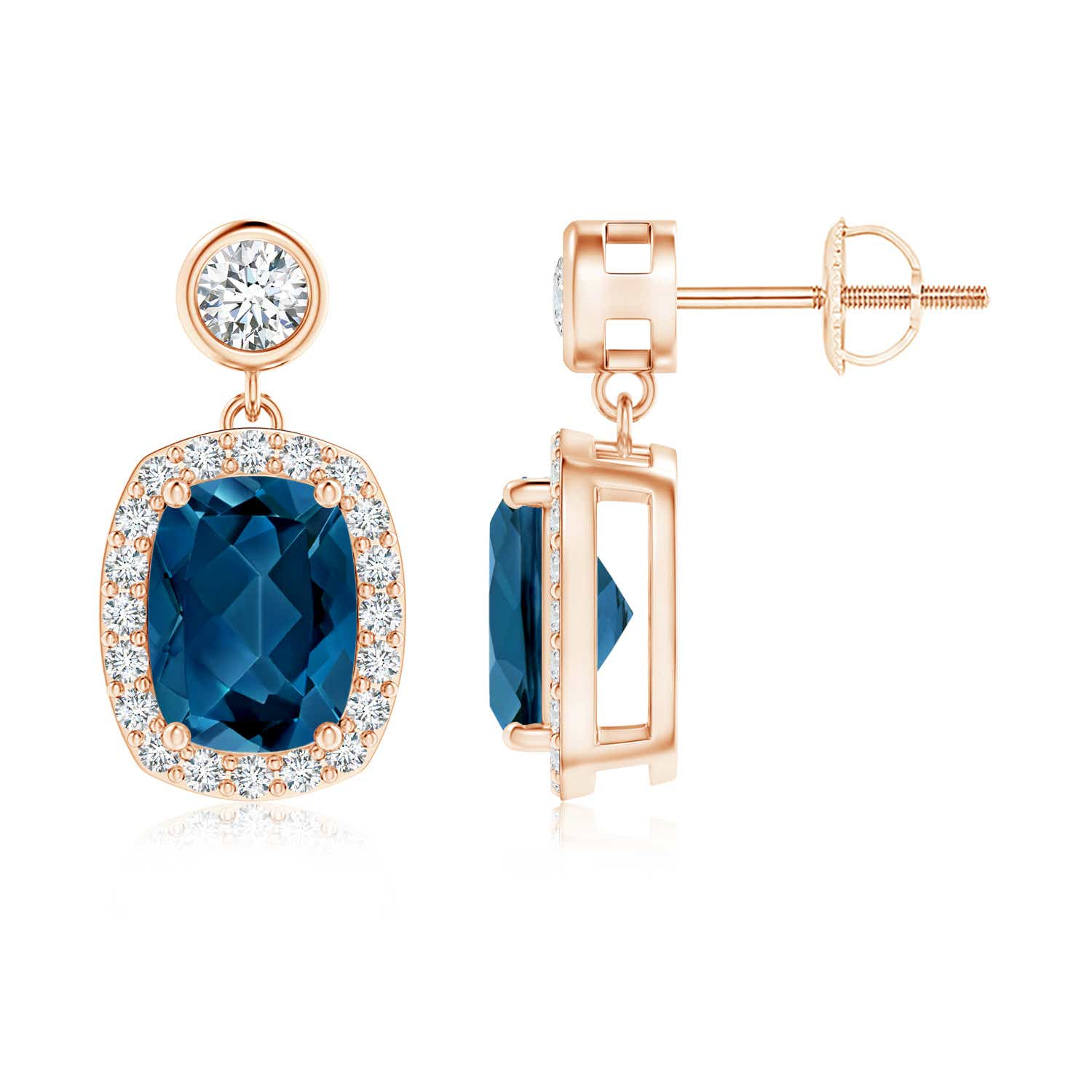 Cushion London Blue Topaz Dangle Earrings with Diamond Halo - Angara.com