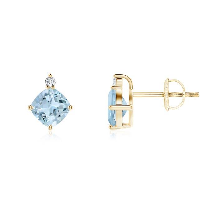 Angara Aquamarine And Diamond Stud Earrings in 14k Yellow Gold wbfu6ll