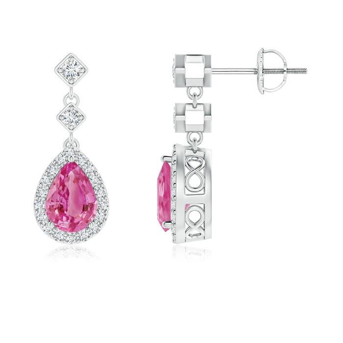 Diamond Halo Pear Pink Sapphire Teardrop Earrings - Angara.com