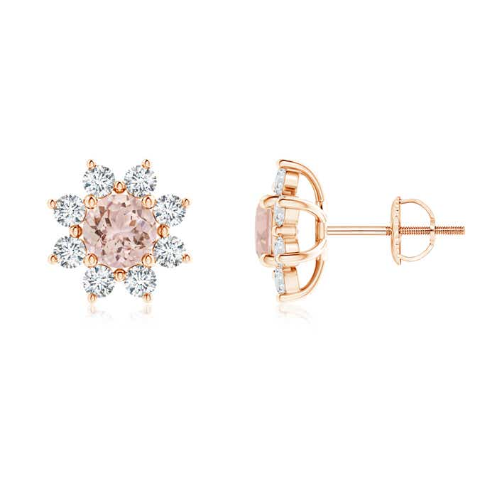 Round Morganite and Diamond Flower Stud Earrings - Angara.com