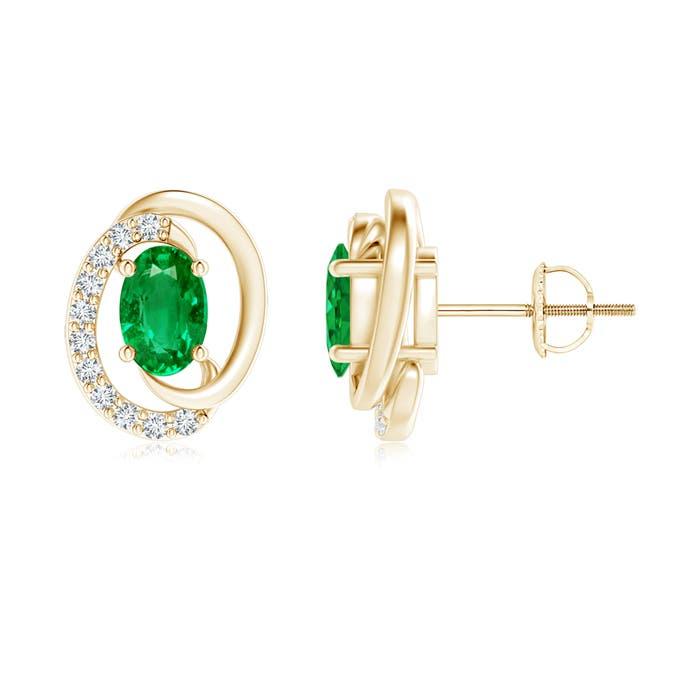 Floating Oval Emerald Swirl Earrings with Diamond Accents - Angara.com