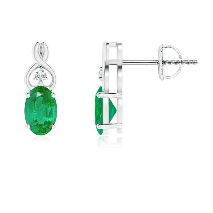 Solitaire-Oval-Natural-Emerald-Earrings-with-Diamond-in-14k-White-Gold