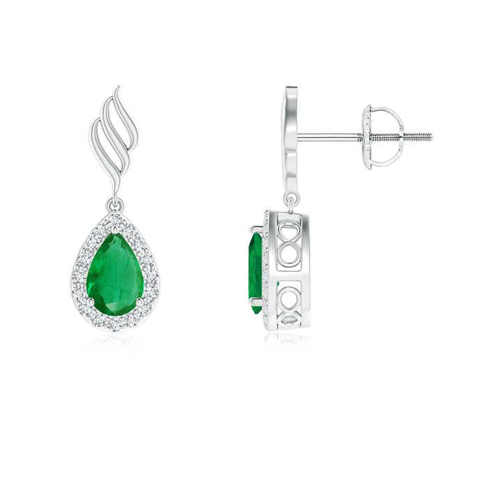 Angara Emerald Stud Earrings in Platinum with Screw Back Setting aqguGr