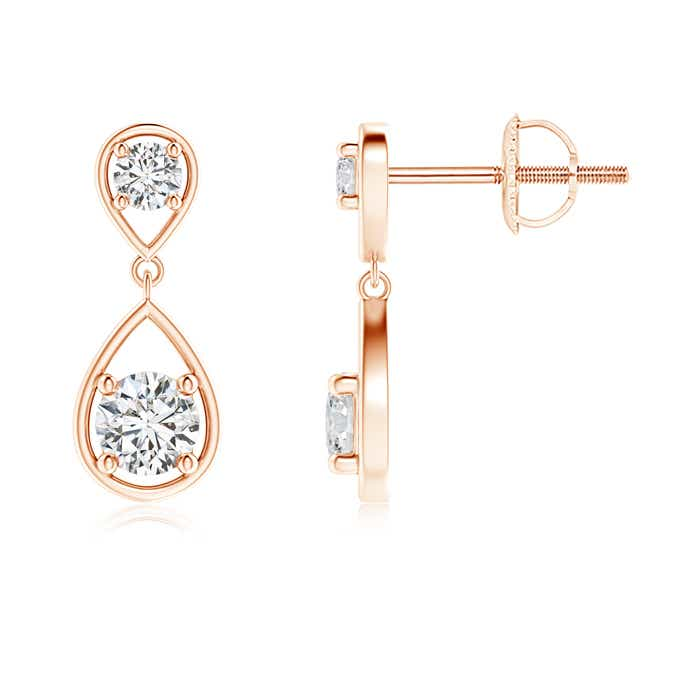 2 Stone Natural Diamond Drop Earrings 14k Gold