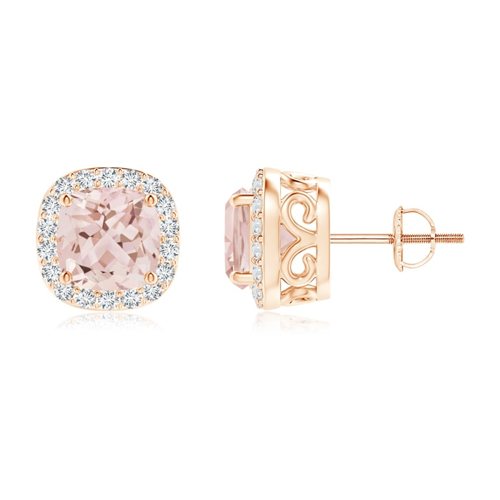 Angara Cushion Morganite Studs with Diamond Halo nocjxDzI