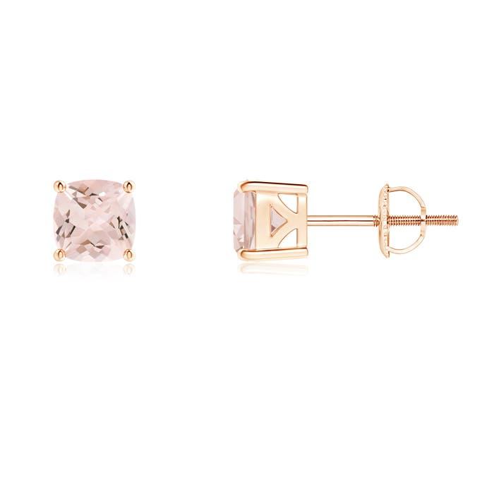 Angara 4 Prong Basket Setting Diamond Stud Earrings in Rose Gold 96blD